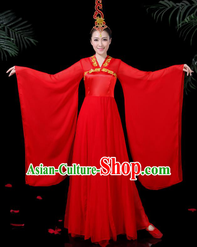 Chinese Ancient Classical Dance Red Hanfu Dress Traditional Folk Dance Fan Dance Clothing for Women