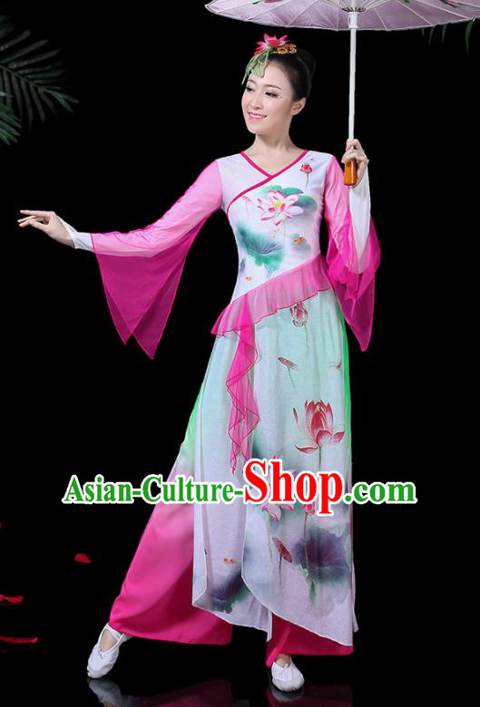 Chinese Classical Dance Printing Lotus Pink Dress Traditional Folk Dance Fan Dance Clothing for Women