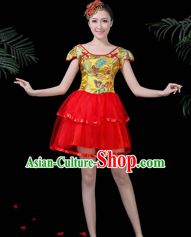 Chinese Classical Dance Drum Dance Yellow Dress Traditional Folk Dance Fan Dance Clothing for Women