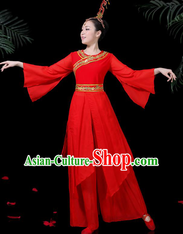 Chinese Classical Dance Yangko Red Costume Traditional Folk Dance Fan Dance Clothing for Women