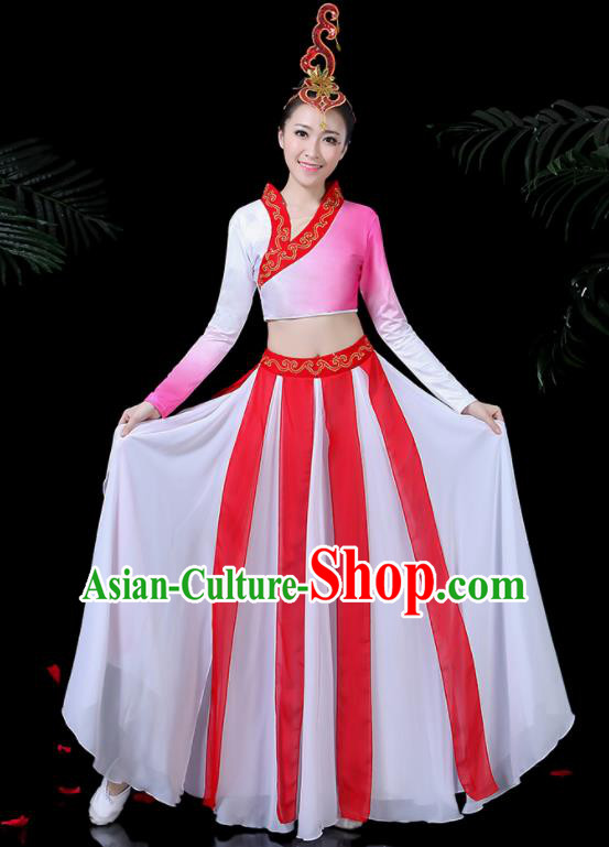 Chinese Classical Dance Yangko Pink Costume Traditional Folk Dance Fan Dance Clothing for Women