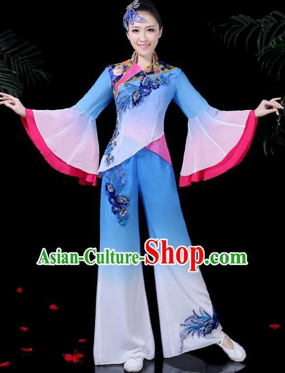 Chinese Classical Dance Blue Costume Traditional Yangko Folk Dance Fan Dance Clothing for Women