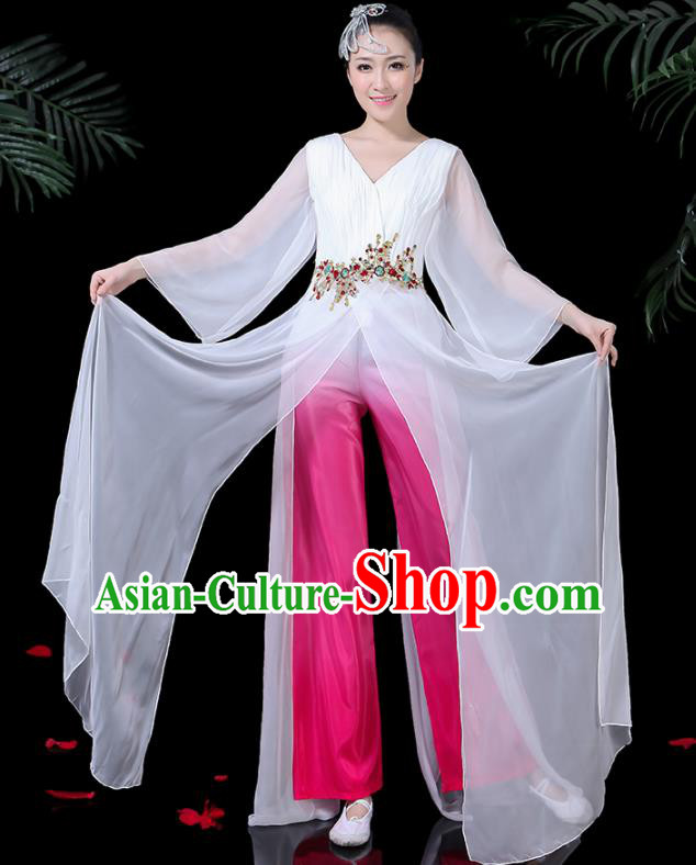 Chinese Classical Dance White Costume Traditional Folk Umbrella Dance Yangko Fan Dance Clothing for Women