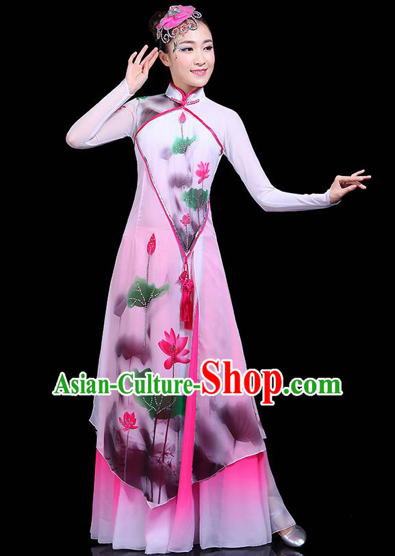 Traditional Fan Dance Ink Painting Lotus Pink Dress Chinese Classical Dance Umbrella Dance Costume for Women