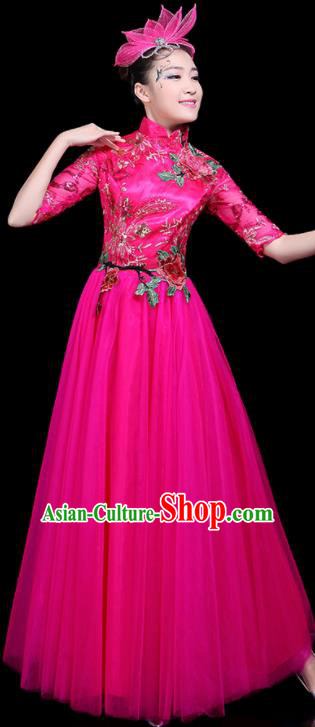 Professional Dance Modern Dance Costume Stage Performance Chorus Rosy Veil Dress for Women