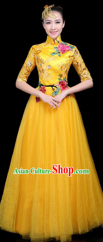 Professional Dance Modern Dance Costume Stage Performance Chorus Yellow Veil Dress for Women