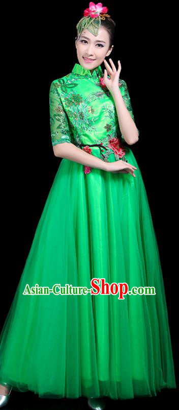 Professional Dance Modern Dance Costume Stage Performance Chorus Green Veil Dress for Women