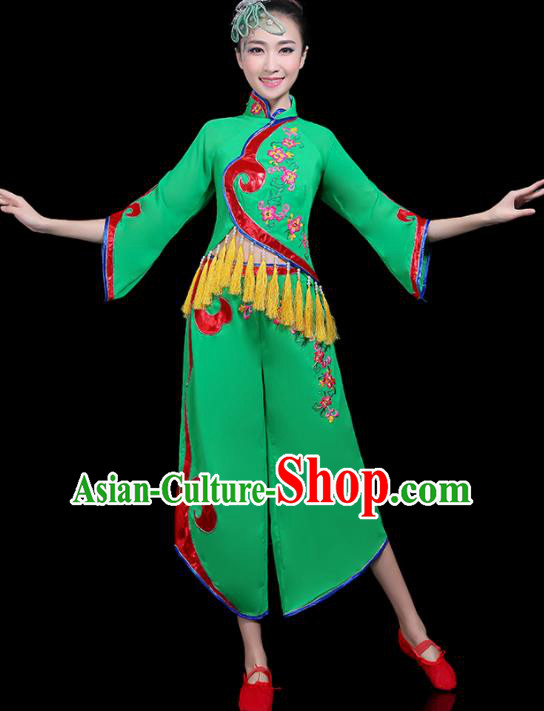Traditional Fan Dance Yangko Green Costumes Chinese Folk Dance Umbrella Dance Costume for Women