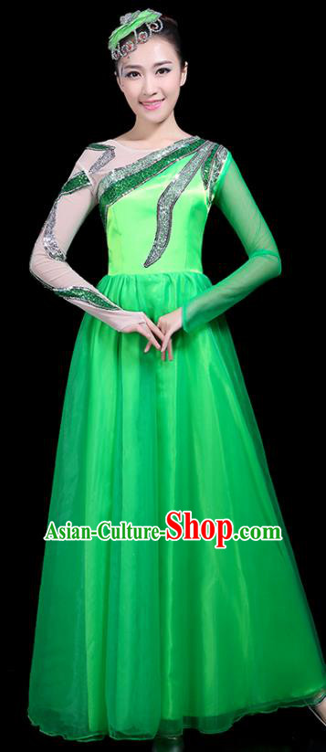 Professional Dance Modern Dance Costume Stage Performance Chorus Green Long Dress for Women