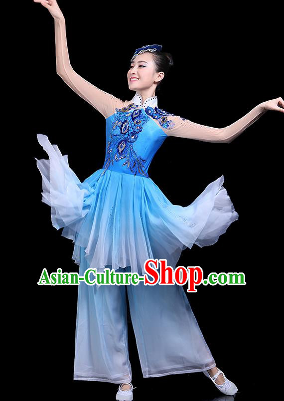 Traditional Classical Dance Umbrella Dance Blue Clothing Chinese Folk Dance Costume for Women