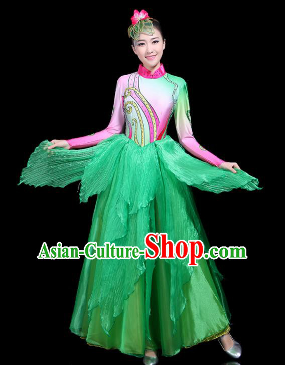 Traditional Classical Dance Umbrella Dance Green Clothing Chinese Folk Dance Costume for Women