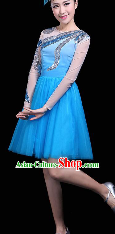 Professional Dance Modern Dance Blue Bubble Dress Stage Performance Chorus Costume for Women