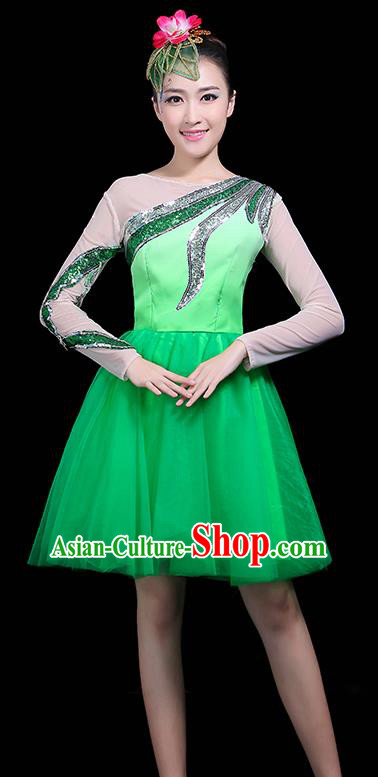 Professional Dance Modern Dance Green Bubble Dress Stage Performance Chorus Costume for Women