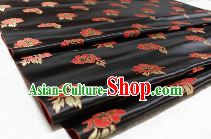 Chinese Traditional Cheongsam Cloth Tang Suit Peony Pattern Black Brocade Fabric Silk Material Drapery