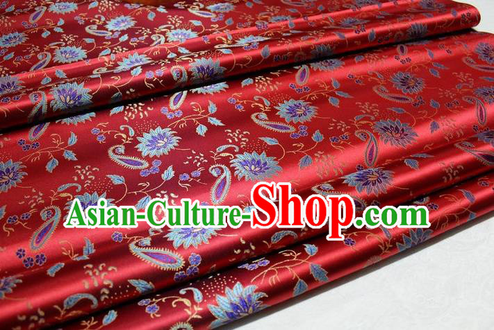 Chinese Traditional Cheongsam Cloth Tang Suit Red Brocade Fabric Silk Material Drapery