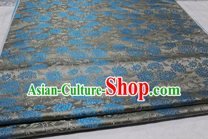 Chinese Traditional Cloth Cheongsam Grey Brocade Fabric Tang Suit Silk Material Drapery