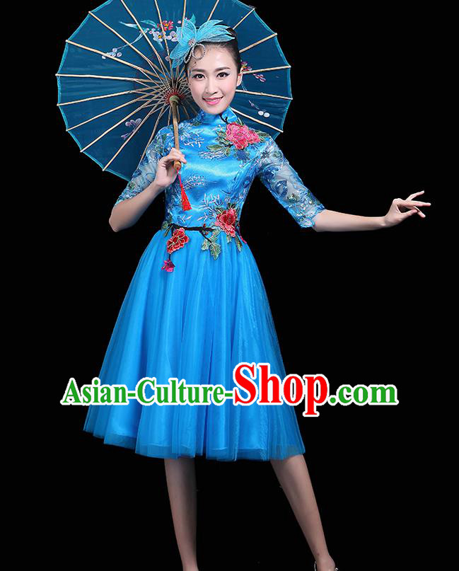 Professional Dance Modern Dance Blue Dress Stage Performance Chorus Costume for Women