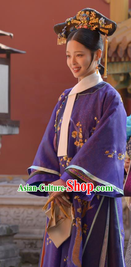 Chinese Ancient Qing Dynasty Ruyi Royal Love in the Palace Manchu Imperial Consort Costumes and Headpiece for Rich Women