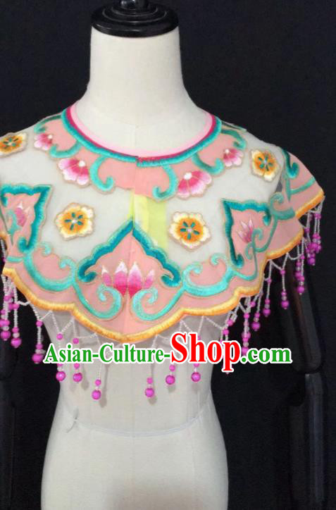 Chinese Traditional Beijing Opera Diva Accessories Peking Opera Costume Embroidered Pink Cloud Tippet for Adults