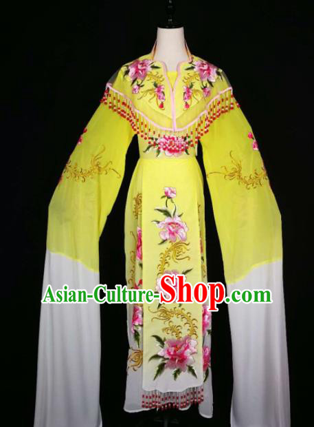 Chinese Traditional Beijing Opera Diva Yellow Dress Peking Opera Princess Costume for Adults