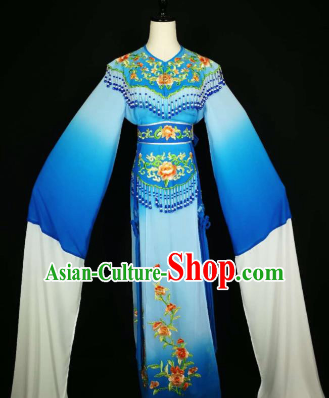 Chinese Traditional Beijing Opera Diva Embroidered Peony Royalblue Dress Peking Opera Princess Costume for Adults