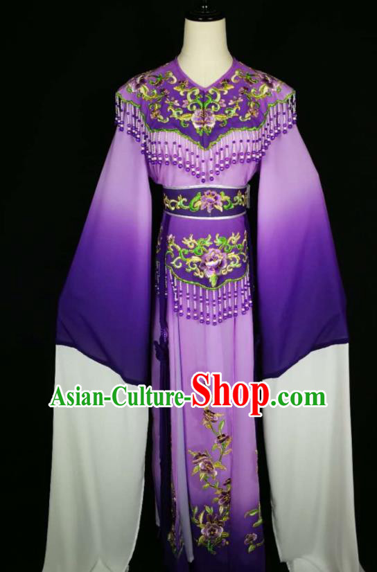 Chinese Traditional Beijing Opera Diva Embroidered Peony Purple Dress Peking Opera Princess Costume for Adults