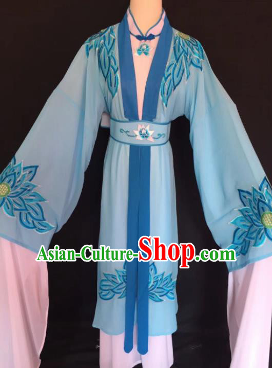 Chinese Traditional Beijing Opera Diva Blue Clothing Peking Opera Buddhist Nun Costume for Adults