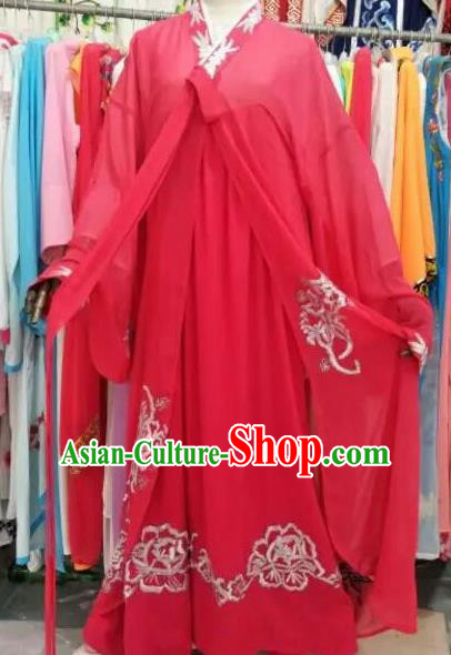 Chinese Traditional Beijing Opera Actress Red Dress Peking Opera Costume for Adults