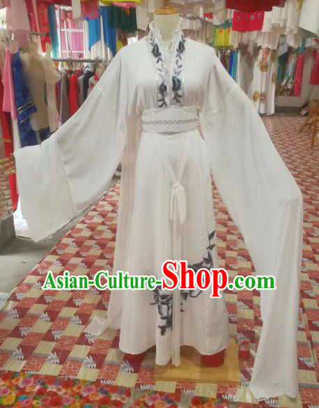 Chinese Traditional Beijing Opera White Dress Peking Opera Diva Costume for Adults