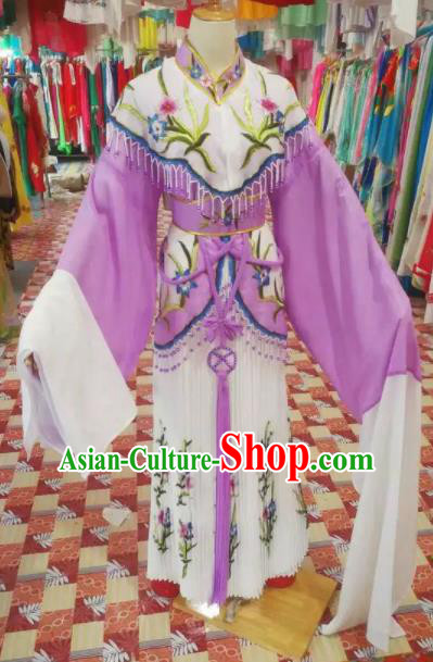 Chinese Traditional Beijing Opera Princess Embroidered Purple Dress Peking Opera Actress Costume for Adults