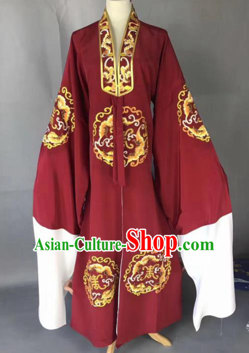 Chinese Traditional Beijing Opera Old Gentleman Costume Peking Opera Wine Red Robe for Adults