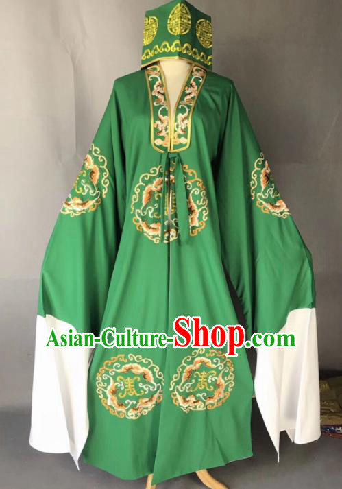 Chinese Traditional Beijing Opera Old Gentleman Costume Peking Opera Green Robe for Adults