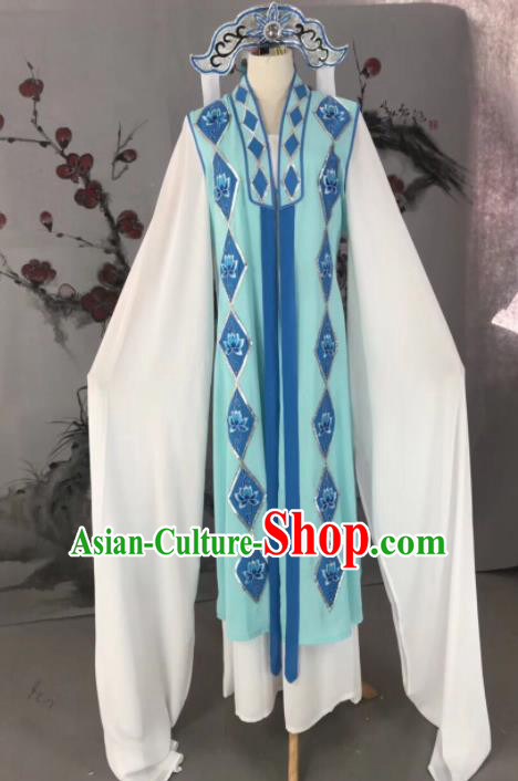 Chinese Traditional Beijing Opera Young Lady Buddhist Nun Costume and Hat for Adults