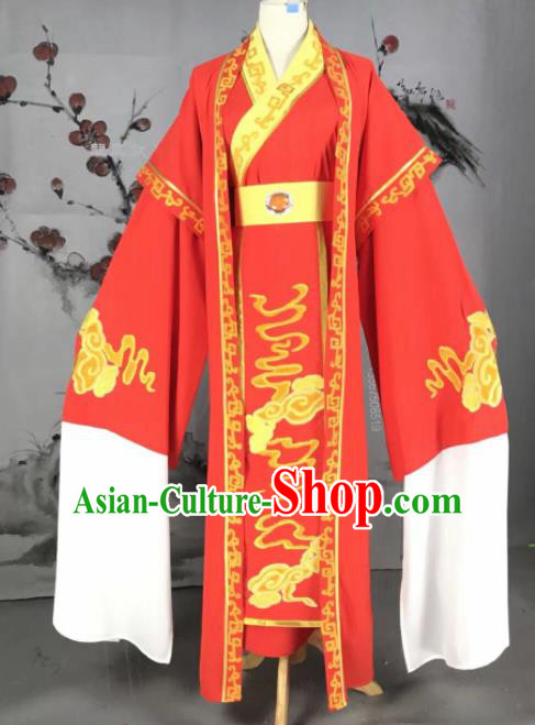 Chinese Traditional Beijing Opera Scholar Red Costume Peking Opera Niche Embroidered Robe for Adults