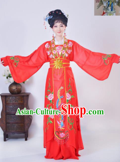 Chinese Traditional Beijing Opera Diva Embroidered Costume Princess Red Hanfu Dress for Adults
