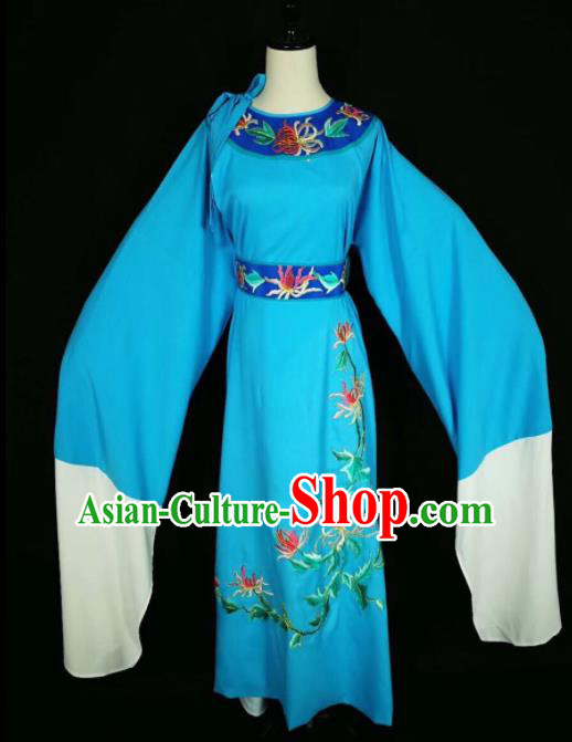 Chinese Traditional Beijing Opera Scholar Costume Peking Opera Embroidered Chrysanthemum Blue Robe for Adults