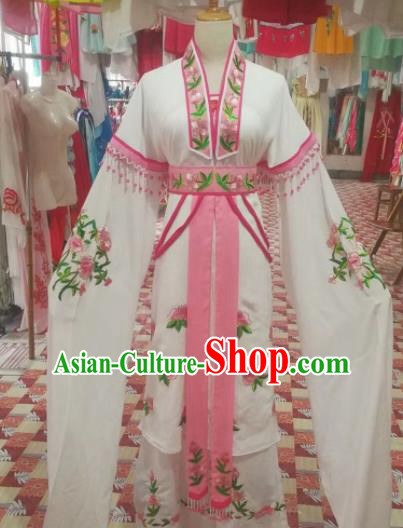 Chinese Traditional Beijing Opera Diva Costume Princess White Hanfu Dress for Adults
