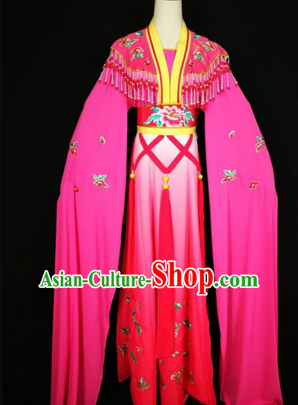 Chinese Traditional Beijing Opera Actress Costume Princess Embroidered Rosy Hanfu Dress for Adults