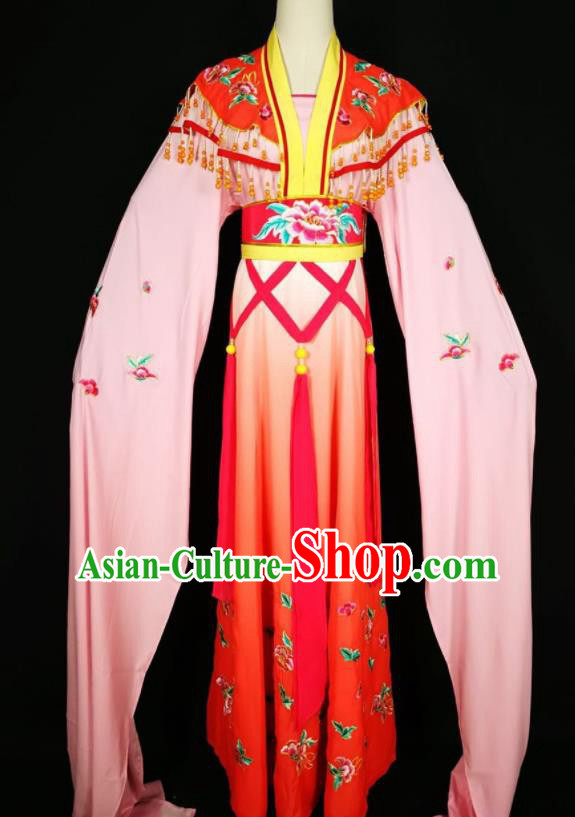 Chinese Traditional Beijing Opera Actress Costume Princess Embroidered Red Hanfu Dress for Adults