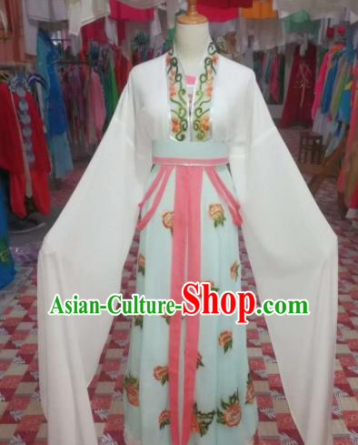 Chinese Traditional Beijing Opera Actress Costume Embroidered White Hanfu Dress for Adults