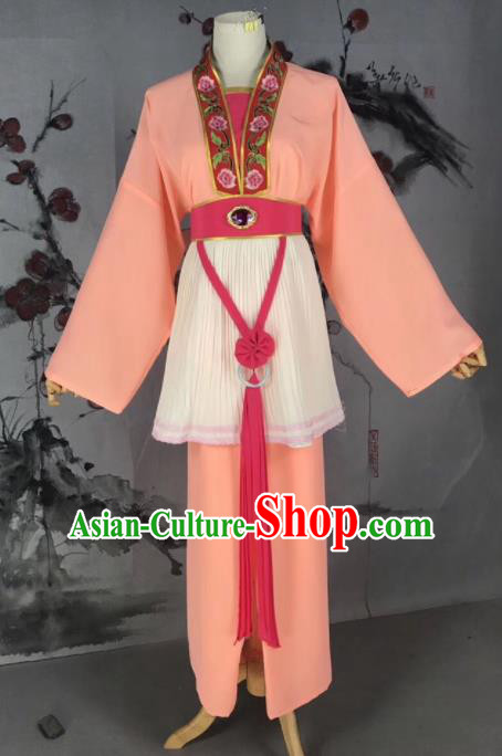 Chinese Traditional Beijing Opera Mui Tsai Costume Servant Girl Orange Clothing for Poor