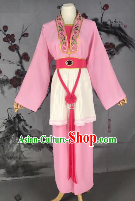 Chinese Traditional Beijing Opera Mui Tsai Costume Servant Girl Pink Clothing for Poor