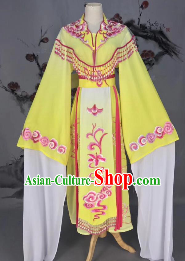 Chinese Traditional Beijing Opera Yellow Hanfu Dress Peking Opera Actress Costume for Rich