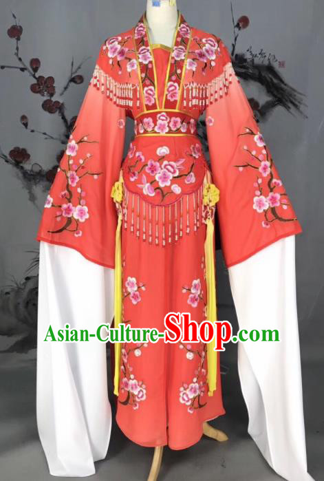 Chinese Traditional Beijing Opera Red Embroidered Dress Peking Opera Actress Costume for Rich