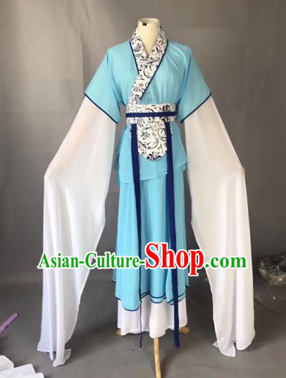 Chinese Traditional Beijing Opera Maidservants Blue Dress Peking Opera Diva Costumes for Adults
