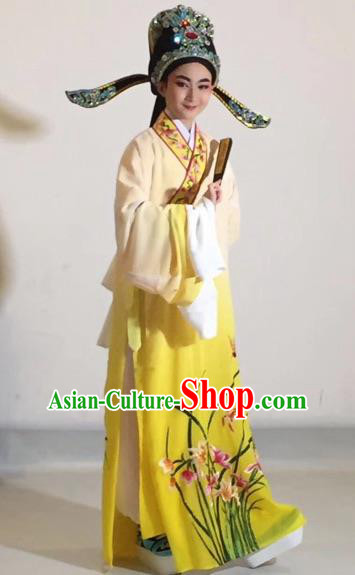 Chinese Traditional Beijing Opera Scholar Costume Peking Opera Embroidered Orchid Yellow Robe for Adults