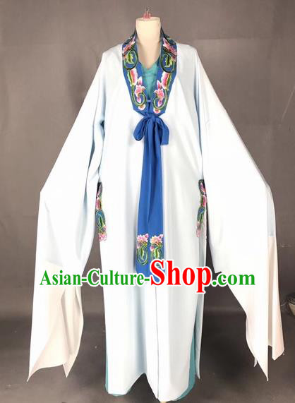 Chinese Traditional Beijing Opera Scholar Costume Peking Opera Niche White Robe for Adults