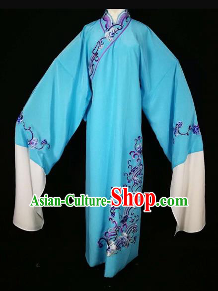 Chinese Traditional Beijing Opera Scholar Blue Robe Peking Opera Niche Costume for Adults
