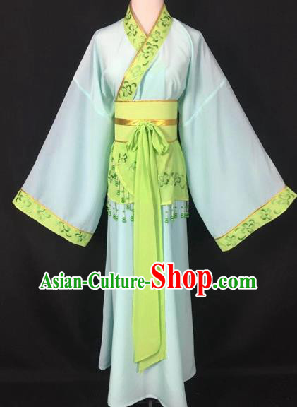 Chinese Traditional Beijing Opera Handmaiden Green Hanfu Dress Peking Opera Diva Costumes for Adults