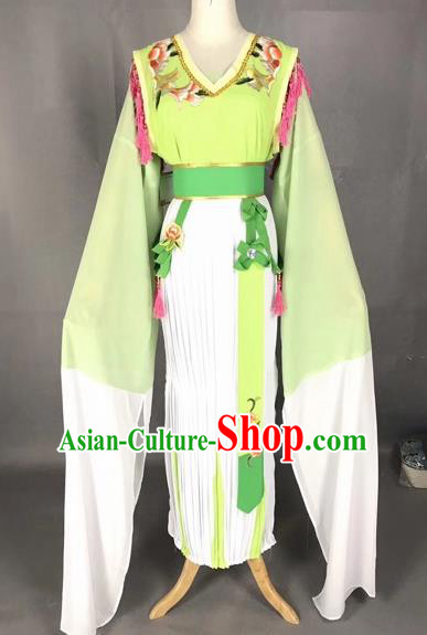Chinese Traditional Beijing Opera Young Lady Green Dress Peking Opera Diva Costumes for Adults
